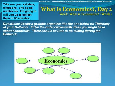Standard 12.1.1 Examine the casual relationship between scarcity and the need for choices. What is Economics?, Day 2 Week: What is Economics? - Week 1.