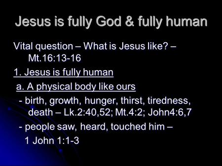Jesus is fully God & fully human