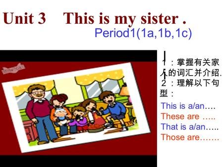 Unit 3 This is my sister. Period1(1a,1b,1c) lili. This is a/an…. These are ….. That is a/an….. Those are…….