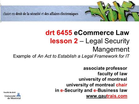 Drt 6455 eCommerce Law lesson 2 – Legal Security Mangement Example of An Act to Establish a Legal Framework for IT associate professor faculty of law university.