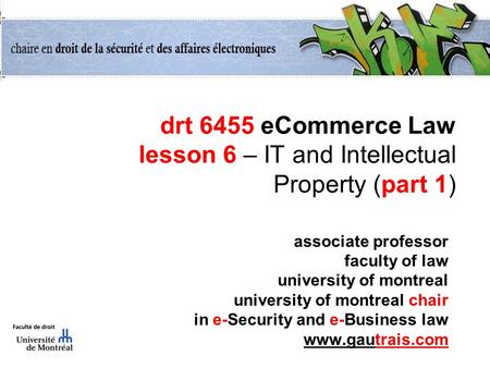 Drt 6455 eCommerce Law lesson 6 – IT and Intellectual Property (part 1) associate professor faculty of law university of montreal university of montreal.
