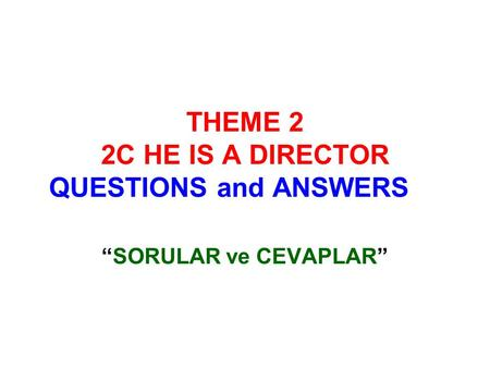 THEME 2 2C HE IS A DIRECTOR QUESTIONS and ANSWERS SORULAR ve CEVAPLAR.