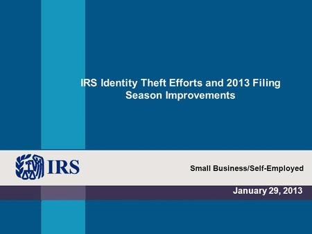 IRS Identity Theft Efforts and 2013 Filing Season Improvements January 29, 2013 Small Business/Self-Employed.