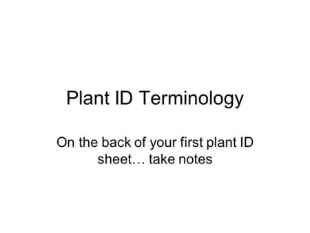 Plant ID Terminology On the back of your first plant ID sheet… take notes.