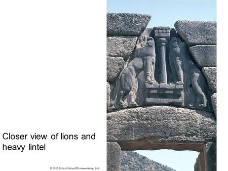 Closer view of lions and heavy lintel © 2005 Saskia Cultural Documentation, Ltd.