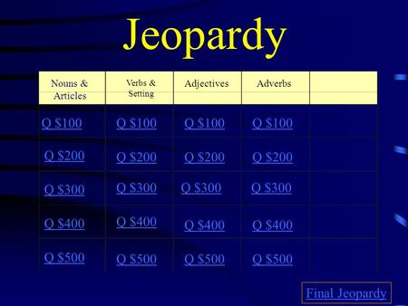 Jeopardy Verbs & Setting AdjectivesAdverbs Q $100 Q $200 Q $300 Q $400 Q $500 Q $100 Q $200 Q $300 Q $400 Q $500 Final Jeopardy Nouns & Articles.