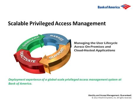 Scalable Privileged Access Management Deployment experience of a global-scale privileged access management system at Bank of America. Identity and Access.
