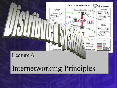 Lecture 6: Internetworking Principles. Part 1 – Internetworking: The term internetworking describes the connecting of separate networks possibly based.