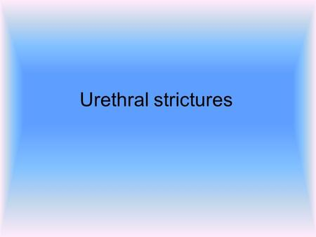 Urethral strictures. Introduction A narrowing of the urethra Caused by injury or disease including UTIs and other forms of urethritis. Above insult leads.