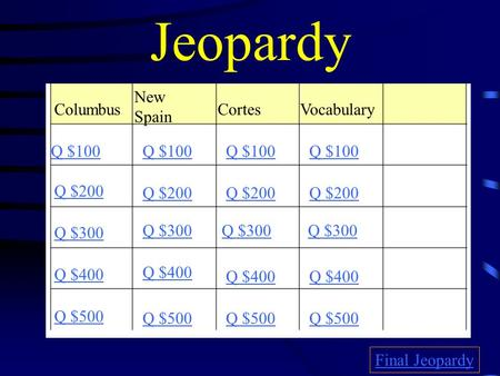 Jeopardy Columbus New Spain CortesVocabulary Q $100 Q $200 Q $300 Q $400 Q $500 Q $100 Q $200 Q $300 Q $400 Q $500 Final Jeopardy.