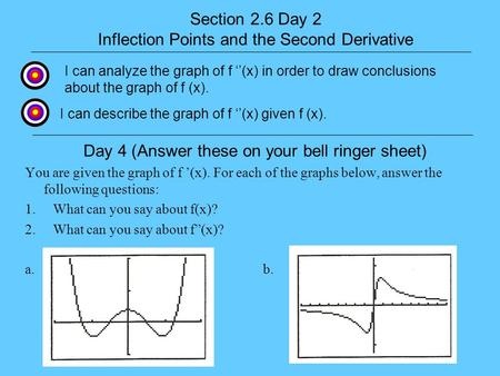 Section 2.6 Day 2 Inflection Points and the Second Derivative I can describe the graph of f (x) given f (x). I can analyze the graph of f (x) in order.