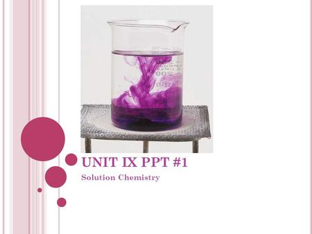 UNIT IX PPT #1 Solution Chemistry. IX.1 SOLUTIONS AND SOLUBILITY Definitions: Solution: Solvent: Solute: