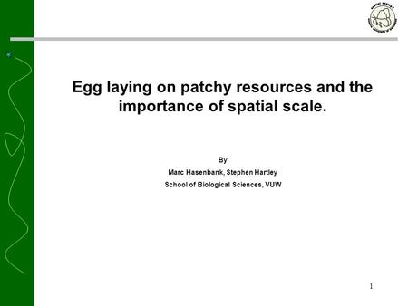 1 Egg laying on patchy resources and the importance of spatial scale. By Marc Hasenbank, Stephen Hartley School of Biological Sciences, VUW.