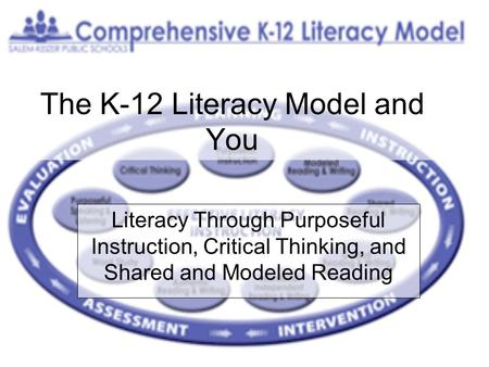 The K-12 Literacy Model and You Literacy Through Purposeful Instruction, Critical Thinking, and Shared and Modeled Reading.