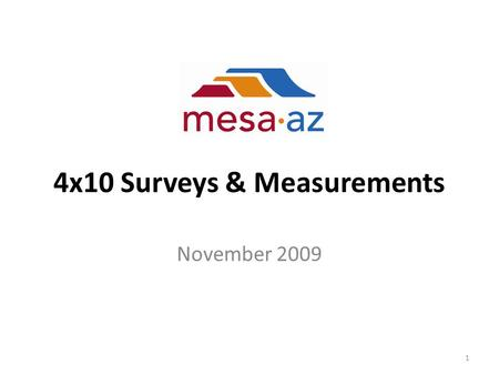 4x10 Surveys & Measurements November 2009 1. Employee Survey To measure personal impact of those who changed from 5x8 to 4x10 during the 4forMesa pilot.