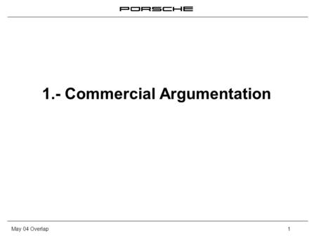 May 04 Overlap1 1.- Commercial Argumentation. May 04 Overlap2 Commercial Argumentation What is an argumentation? – It is the capacity to transform the.