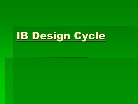 IB Design Cycle.