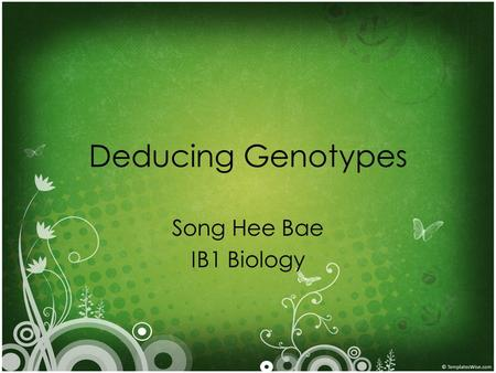 Deducing Genotypes Song Hee Bae IB1 Biology. Pedigree Charts How a trait can pass Whether dominant or recessive Whether sex-linked or not Sex-linkage.