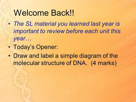 Welcome Back!! The SL material you learned last year is important to review before each unit this year… Todays Opener: Draw and label a simple diagram.