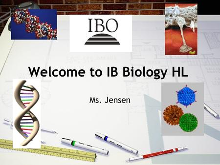 Welcome to IB Biology HL Ms. Jensen. WELCOME TO THE FIRST YEAR OF IB BIOLOGY HIGHER LEVEL! Two year course IB exam – May of senior year.