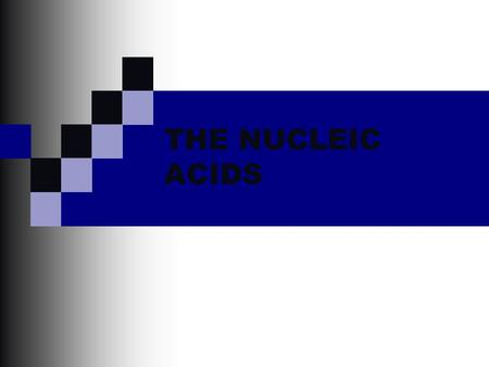 THE NUCLEIC ACIDS.