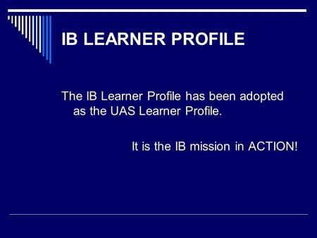 Just curious, what is the IB program?