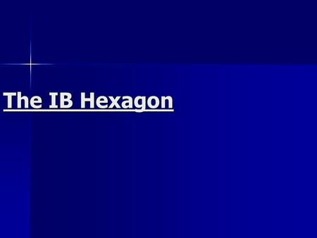 The IB Hexagon. Group 1 Language A Language A The primary language of the country The primary language of the country 45 languages available 45 languages.