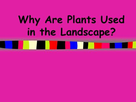 Why Are Plants Used in the Landscape? Todays Objectives Describe the functional roles of plants in the landscape. Discuss the functional uses of plants.