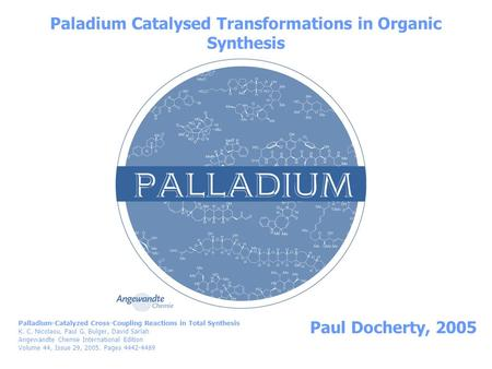 Paladium Catalysed Transformations in Organic Synthesis Paul Docherty, 2005 Palladium-Catalyzed Cross-Coupling Reactions in Total Synthesis K. C. Nicolaou,