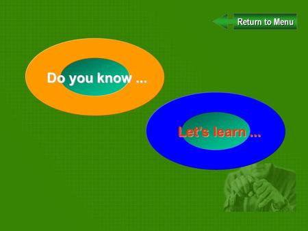 Do you know... Return to Menu Return to Menu Lets learn...