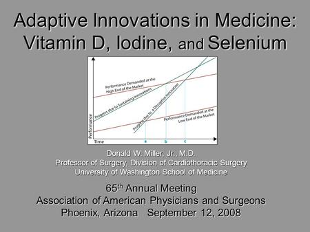 Adaptive Innovations in Medicine: Vitamin D, Iodine, and Selenium Donald W. Miller, Jr., M.D. Professor of Surgery, Division of Cardiothoracic Surgery.