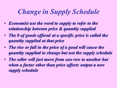 Change in Supply Schedule
