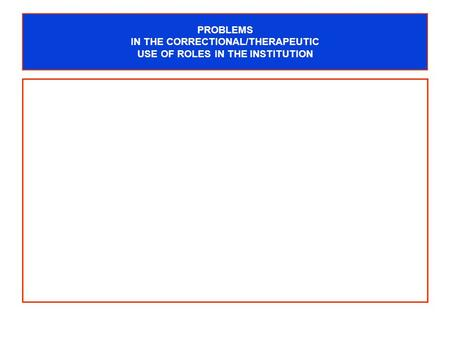 PROBLEMS IN THE CORRECTIONAL/THERAPEUTIC USE OF ROLES IN THE INSTITUTION.