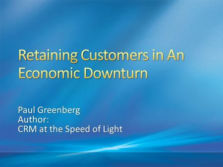Paul Greenberg Author: CRM at the Speed of Light.