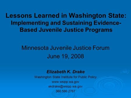 Lessons Learned in Washington State: Implementing and Sustaining Evidence- Based Juvenile Justice Programs Minnesota Juvenile Justice Forum June 19, 2008.