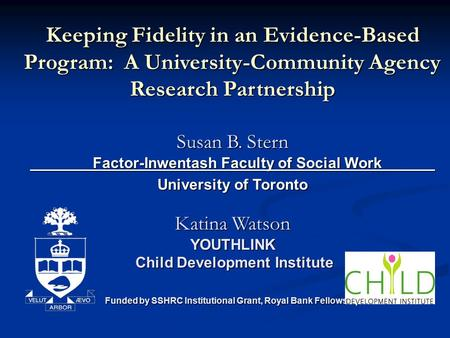 Keeping Fidelity in an Evidence-Based Program: A University-Community Agency Research Partnership Susan B. Stern Factor-Inwentash Faculty of Social Work.