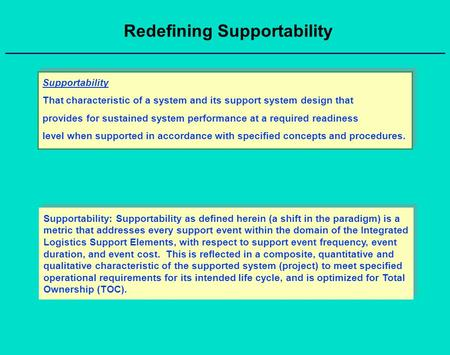 Redefining Supportability Supportability That characteristic of a system and its support system design that provides for sustained system performance at.