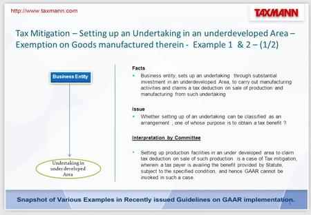 0 GAAR Analysis by CA. Arinjay Kumar Jain. Tax Mitigation – Setting up an Undertaking in an underdeveloped Area – Exemption on Goods manufactured therein.