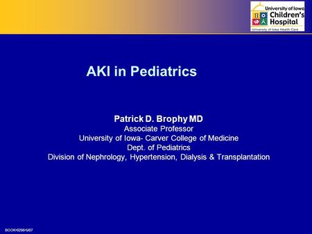BOOK02665/07 AKI in Pediatrics Patrick D. Brophy MD Associate Professor University of Iowa- Carver College of Medicine Dept. of Pediatrics Division of.