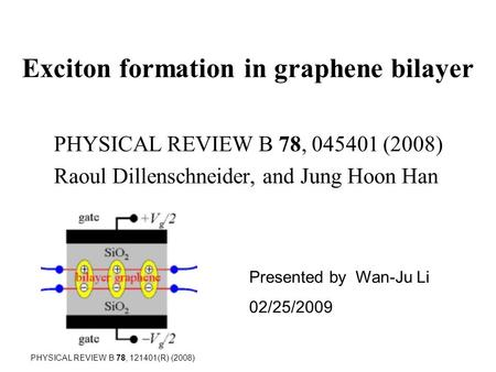 Exciton formation in graphene bilayer PHYSICAL REVIEW B 78, 045401 (2008) Raoul Dillenschneider, and Jung Hoon Han Presented by Wan-Ju Li 02/25/2009 PHYSICAL.