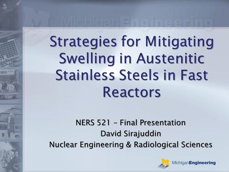 Strategies for Mitigating Swelling in Austenitic Stainless Steels in Fast Reactors NERS 521 – Final Presentation David Sirajuddin Nuclear Engineering &