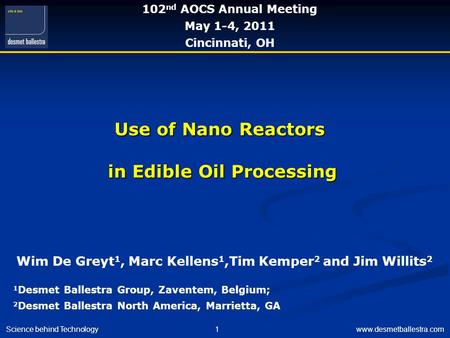Use of Nano Reactors in Edible Oil Processing