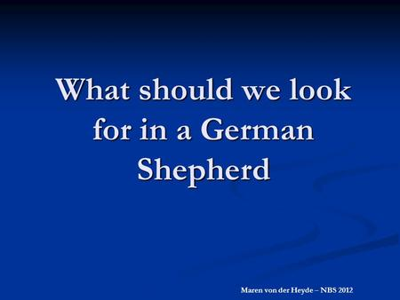 What should we look for in a German Shepherd Maren von der Heyde – NBS 2012.