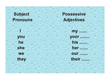 Subject Possessive Pronouns Adjectives I my....... you your........ he his....... she her....... we our....... they their.......