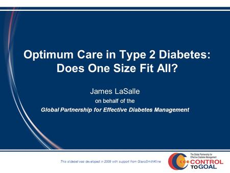 Optimum Care in Type 2 Diabetes: Does One Size Fit All? James LaSalle on behalf of the Global Partnership for Effective Diabetes Management This slideset.