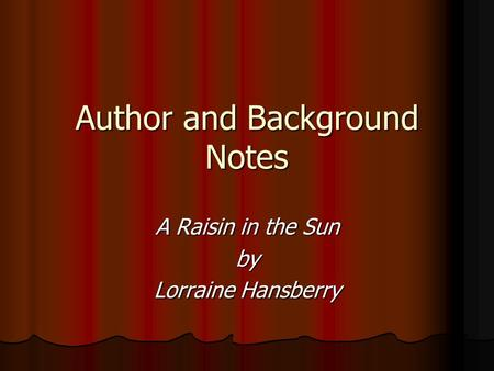 Author and Background Notes