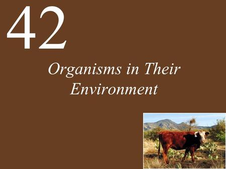 Organisms in Their Environment 42. Concept 42.1 Ecological Systems Vary in Space and over Time Physical geographystudy of the distribution of Earths climates.