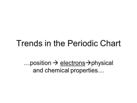 Trends in the Periodic Chart …position electrons physical and chemical properties…