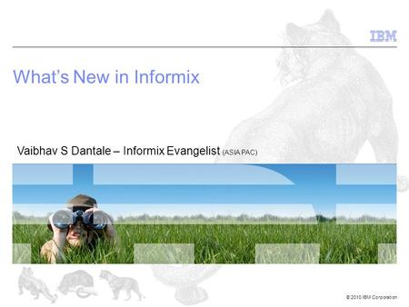 © 2010 IBM Corporation Whats New in Informix Vaibhav S Dantale – Informix Evangelist (ASIA PAC)