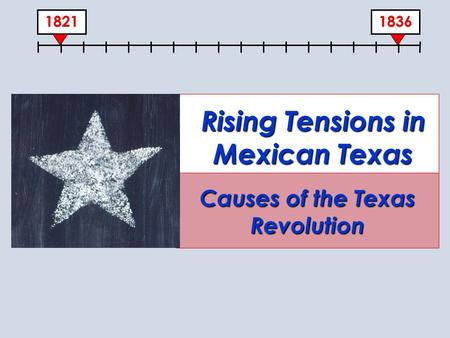 18361821 Rising Tensions in Mexican Texas Causes of the Texas Revolution.